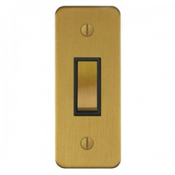 Focus SB Ambassador ASB16.1B 1 gang 20 amp 2 way architrave switch in Satin Brass with black inserts