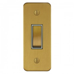 Focus SB Ambassador ASB16.1W 1 gang 20 amp 2 way architrave switch in Satin Brass with white inserts