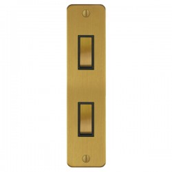 Focus SB Ambassador ASB16.2B 2 gang 20 amp 2 way architrave switch in Satin Brass with black inserts