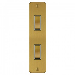 Focus SB Ambassador ASB16.2W 2 gang 20 amp 2 way architrave switch in Satin Brass with white inserts