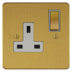 Focus SB Ambassador ASB18.1W 1 gang 13 amp switched socket in Satin Brass with white inserts