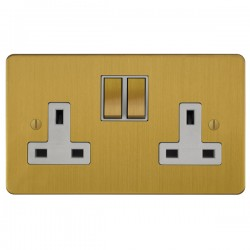 Focus SB Ambassador ASB18.2W 2 gang 13 amp switched socket in Satin Brass with white inserts