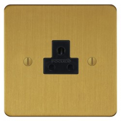 Focus SB Ambassador ASB19.1B 1 gang 2 amp unswitched socket in Satin Brass with black inserts