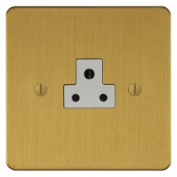 Focus SB Ambassador ASB19.1W 1 gang 2 amp unswitched socket in Satin Brass with white inserts