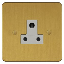 Focus SB Ambassador ASB20.1W 1 gang 5 amp unswitched socket in Satin Brass with white inserts