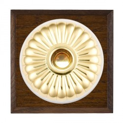 Hamilton Bloomsbury Chamfered Dark Oak Fluted Polished Brass Bell Push Toggle with White Insert