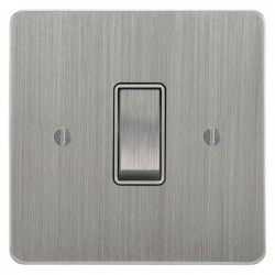 Focus SB Ambassador ASC11.1/3W 1 gang 20 amp Intermediate rocker switch in Satin Chrome with White Inserts