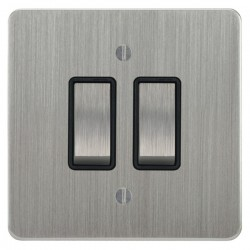 Focus SB Ambassador ASC11.2B 2 gang 20 amp 2 way rocker switch in Satin Chrome with black inserts