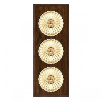 Hamilton Bloomsbury Chamfered Dark Oak Fluted Polished Brass 3 Gang 2 Way Toggle with Black Insert