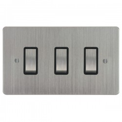 Focus SB Ambassador ASC11.3B 3 gang 20 amp 2 way rocker switch in Satin Chrome with black inserts