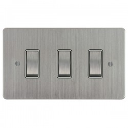 Focus SB Ambassador ASC11.3W 3 gang 20 amp 2 way rocker switch in Satin Chrome with white inserts