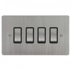Focus SB Ambassador ASC11.4B 4 gang 20 amp 2 way rocker switch in Satin Chrome with black inserts