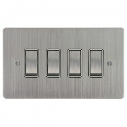 Focus SB Ambassador ASC11.4W 4 gang 20 amp 2 way rocker switch in Satin Chrome with white inserts