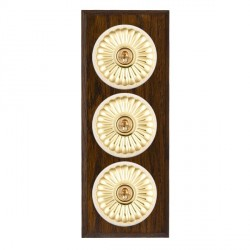 Hamilton Bloomsbury Chamfered Dark Oak Fluted Polished Brass 3 Gang 2 Way Toggle with White Insert