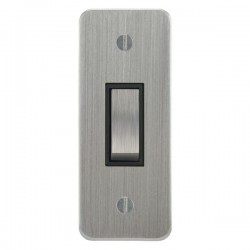 Focus SB Ambassador ASC16.1B 1 gang 20 amp 2 way architrave switch in Satin Chrome with black inserts