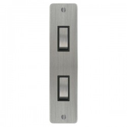 Focus SB Ambassador ASC16.2B 2 gang 20 amp 2 way architrave switch in Satin Chrome with black inserts