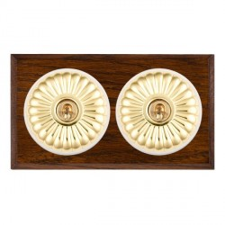 Hamilton Bloomsbury Chamfered Dark Oak Fluted Polished Brass 2 Gang Intermediate Toggle with White Insert