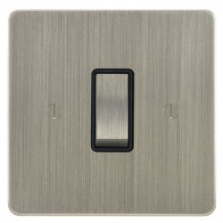 Focus SB Ambassador ASN11.1B 1 gang 20 amp 2 way rocker switch in Satin Nickel with black inserts