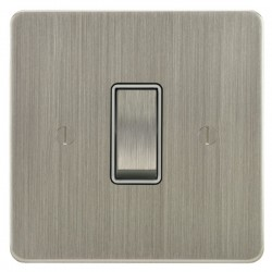 Focus SB Ambassador ASN11.1W 1 gang 20 amp 2 way rocker switch in Satin Nickel with white inserts