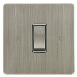 Focus SB Ambassador ASN11.1/3W 1 gang 20 amp Intermediate rocker switch in Satin Nickel with White Inserts