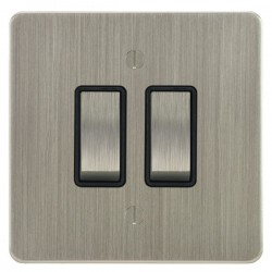 Focus SB Ambassador ASN11.2B 2 gang 20 amp 2 way rocker switch in Satin Nickel with black inserts