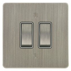 Focus SB Ambassador ASN11.2W 2 gang 20 amp 2 way rocker switch in Satin Nickel with white inserts