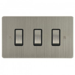 Focus SB Ambassador ASN11.3B 3 gang 20 amp 2 way rocker switch in Satin Nickel with black inserts