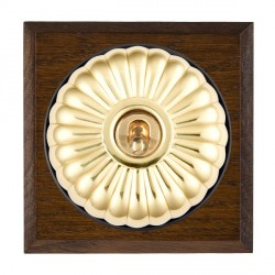 Hamilton Bloomsbury Chamfered Dark Oak Fluted Polished Brass 1 Gang Double Pole Toggle with Black Insert