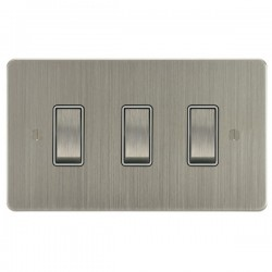 Focus SB Ambassador ASN11.3W 3 gang 20 amp 2 way rocker switch in Satin Nickel with white inserts