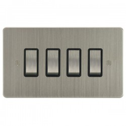Focus SB Ambassador ASN11.4B 4 gang 20 amp 2 way rocker switch in Satin Nickel with black inserts