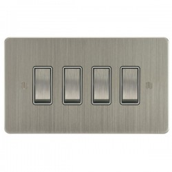 Focus SB Ambassador ASN11.4W 4 gang 20 amp 2 way rocker switch in Satin Nickel with white inserts