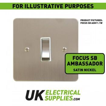 Focus SB Ambassador ASN11.6B 6 gang 20 amp 2 way rocker switch in Satin Nickel with black inserts