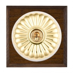 Hamilton Bloomsbury Chamfered Dark Oak Fluted Polished Brass 1 Gang Double Pole Toggle with White Insert