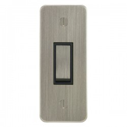 Focus SB Ambassador ASN16.1B 1 gang 20 amp 2 way architrave switch in Satin Nickel with black inserts