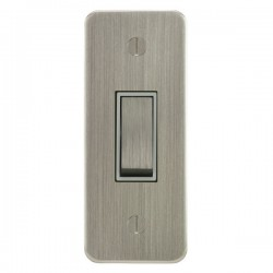 Focus SB Ambassador ASN16.1W 1 gang 20 amp 2 way architrave switch in Satin Nickel with white inserts