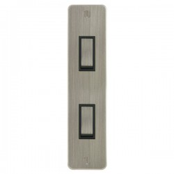 Focus SB Ambassador ASN16.2B 2 gang 20 amp 2 way architrave switch in Satin Nickel with black inserts