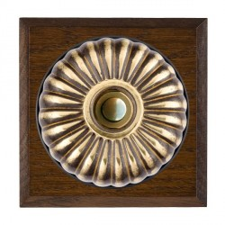 Hamilton Bloomsbury Chamfered Dark Oak Fluted Antique Brass Bell Push Toggle with Black Insert