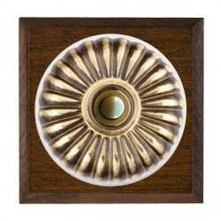Hamilton Bloomsbury Chamfered Dark Oak Fluted Antique Brass Bell Push Toggle with White Insert
