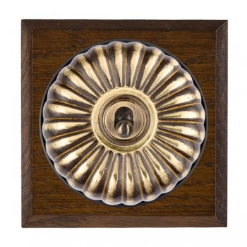 Hamilton Bloomsbury Chamfered Dark Oak Fluted Antique Brass 1 Gang 2 Way Toggle with Black Insert
