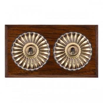 Hamilton Bloomsbury Chamfered Dark Oak Fluted Antique Brass 2 Gang 2 Way Toggle with Black Insert