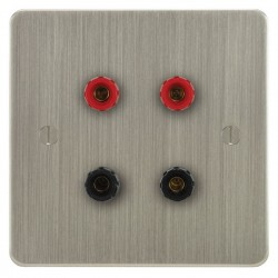 Focus SB Ambassador ASN67.2 2 gang speaker outlet (2 red 2 black 4mm socket) in Satin Nickel