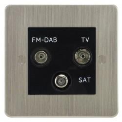 Focus SB Ambassador ASN80.3B triplex TV/FM/Satellite outlet in Satin Nickel with black inserts