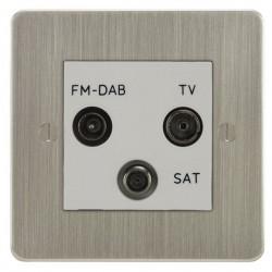 Focus SB Ambassador ASN80.3W triplex TV/FM/Satellite outlet in Satin Nickel with white inserts