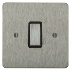 Focus SB Ambassador ASS11.1B 1 gang 20 amp 2 way rocker switch in Satin Stainless with black inserts