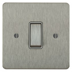 Focus SB Ambassador ASS11.1/3W 1 gang 20 amp Intermediate rocker switch in Satin Stainless with White Inserts