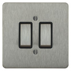Focus SB Ambassador ASS11.2B 2 gang 20 amp 2 way rocker switch in Satin Stainless with black inserts