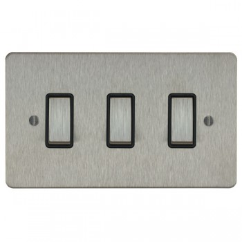 Focus SB Ambassador ASS11.3B 3 gang 20 amp 2 way rocker switch in Satin Stainless with black inserts