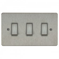 Focus SB Ambassador ASS11.3W 3 gang 20 amp 2 way rocker switch in Satin Stainless with white inserts