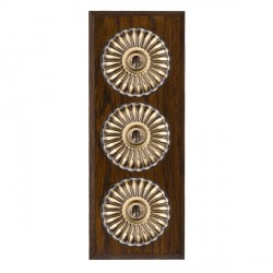 Hamilton Bloomsbury Chamfered Dark Oak Fluted Antique Brass 3 Gang 2 Way Toggle with Black Insert