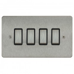 Focus SB Ambassador ASS11.4B 4 gang 20 amp 2 way rocker switch in Satin Stainless with black inserts